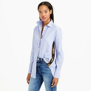 J Crew Sequin Side Stripe Shirt Blue Cotton Sz 2